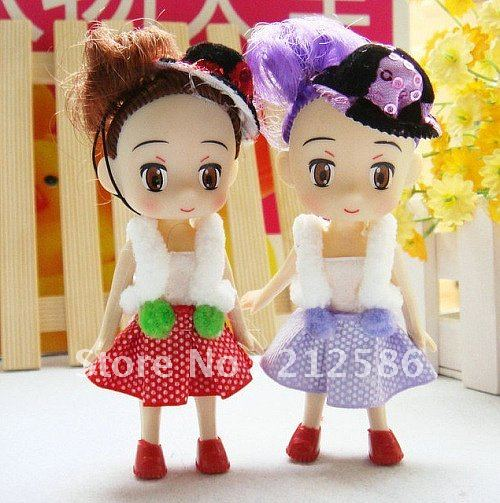 Wholesale 24pcs lovely dress Doll with fashion hat for girl As Wedding Supplier,Phone charm strap,Children gift ,Free Shipping(China (Mainland))