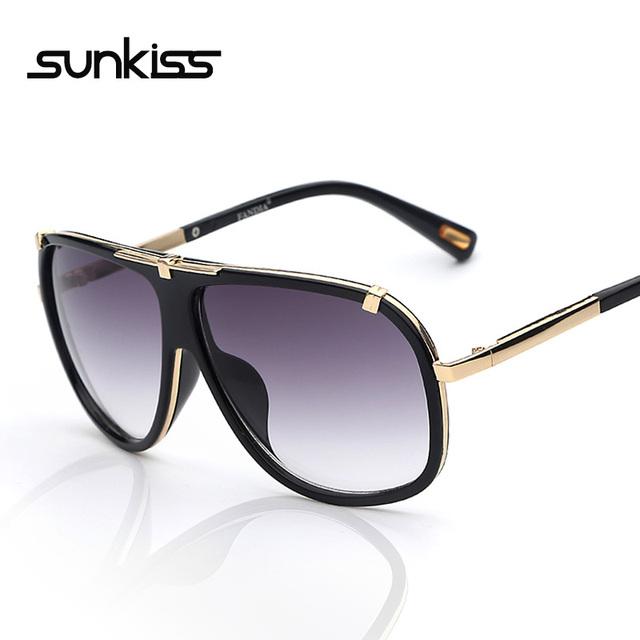 Sunkiss новый люксового бренда солнечные очки женщин 2016 плоская верхняя ретро старинные ...