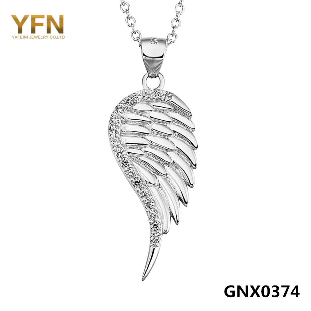 100% Real Pure 925 Sterling Silver Angel Wing Necklace AAA Cubic Zirconia Pendant Necklace Fashion Jewelry For Women GNX0374(China (Mainland))