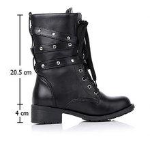 2019 Moda Yeni Punk Gotik Tarzı Lace up Kemerler Yuvarlak Ayak çizmeler kadın ayakkabıları kısa çizmeler Sokak taşımacılık motor mujer zapatos(China)