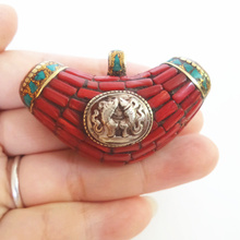 TBP651 Nepal Vintage Jewelry Copper Inlaid Red Coral Turquoise Big Moon Pendant Fine Quality Bell inside Dural Fish(China (Mainland))