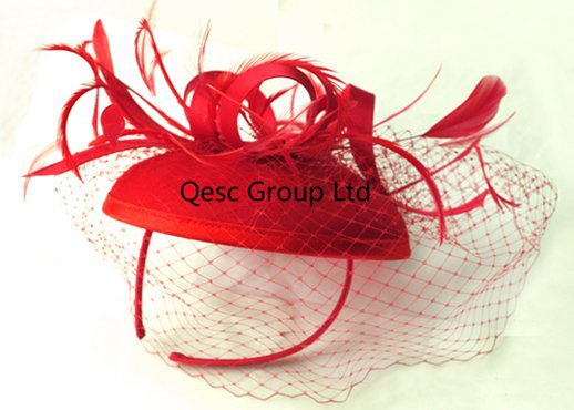 Red Felt Feather Fascinator Sinamay Fascinator with birdcage veilng&satin loop for Kentucky derby and wedding .(China (Mainland))