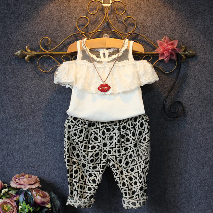 Baby Girls Party Lace Floral Tops Blouse Shirt+Pants Twinset Outfits Set 2-7Y