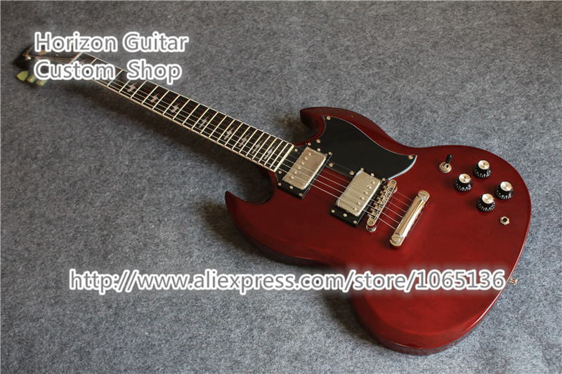 Free Shipping SG Electric Guitar Angus Young Signature Lighting Inlaids Cherry Red Finish In Stock(China (Mainland))