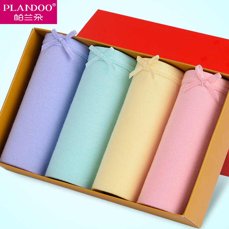 women briefs School Season 4 pack two-piece separates Sexy intimate Seamless Panties Cotton stretch Low Waist Female Solid Bow(China (Mainland))