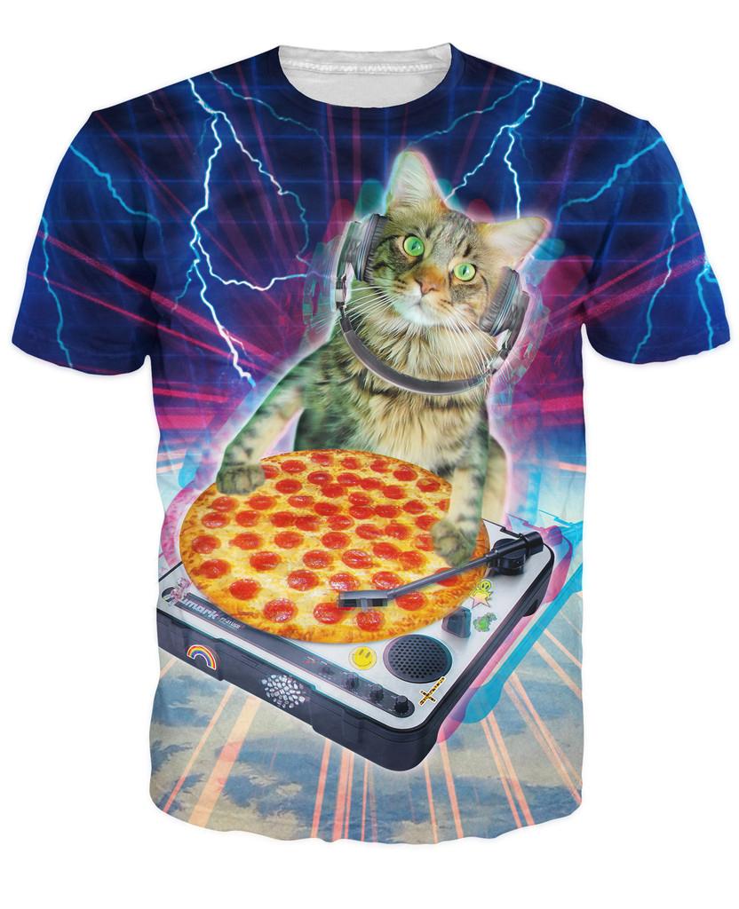 DJ Paws T-Shirt DJ Paws droppin' some sick beats pizza 3d print t shirt Cats Kitten Animal Sport Tops Women Men Casual tees(China (Mainland))