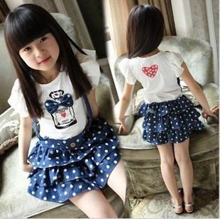 Free shipping hot selling new 2013 girls child summer dot bow faux two piece dress faux denim braces dresses<br><br>Aliexpress