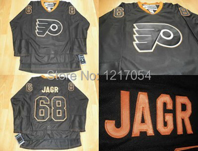 Cheap NHL JERSEY Philadelphia Flyers Jaromir Jagr #68 Authentic Black Ice Jerseys Black Free Shipping(China (Mainland))