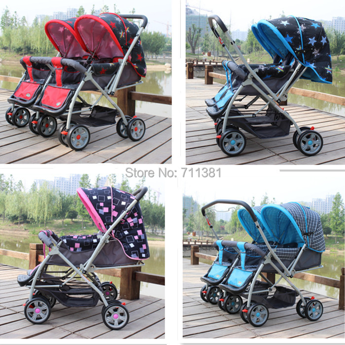 Suit For 7-36 months Baby Twin Prams Pushchairs 5 Colors Twin Stroller Baby Car Foldable Baby Carriage For Twin 2 Seats In Row(China (Mainland))
