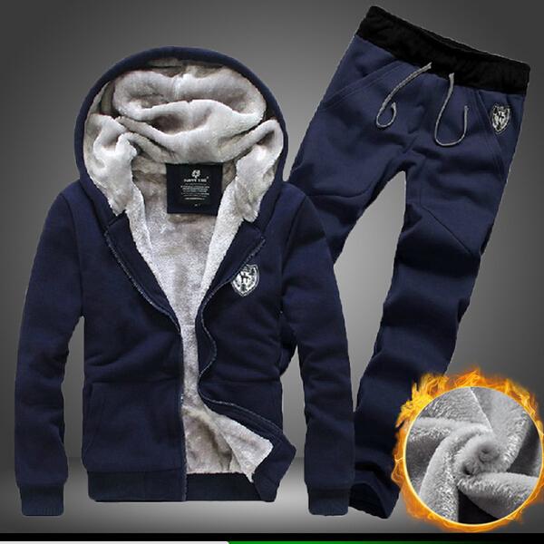 Мужчины бутик утолщение тёплый зима спорт костюмы / толстовки + спорт брюки / мужчины утолщение тёплый толстовки / мужчины в пальто