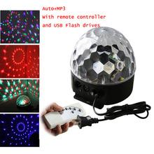1set RGB colorful LED MP3 DJ Club Pub Bar disco party DMX stage magic crystal ball light + remote controller + USB flash drive(China (Mainland))