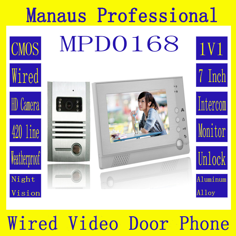 D168C High Quality 7 Inch Screen Display Video Door Phone Doorbell Intercom Keyfob One to One Video Doorphone Kit Configuration(China (Mainland))