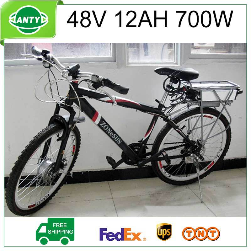 Bicycle Battery 48V 12Ah 700W ebike Battery 48V with 54.6V 2A Charger,15A BMS Lithium Scooter Battery Pack 48v TNT Free Shipping(China (Mainland))