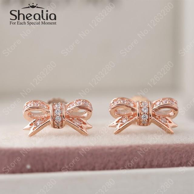 Серьги 2015 новый 14 К роуз позолоченные проложить ясно циркон бантом подлинная стерлингового серебра 925 ювелирных украшений для женщин EAR028