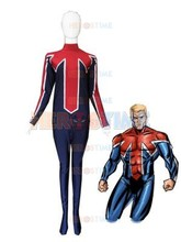 Blue & Red Captain Britain Superhero Costume  Spandex halloween cosplay costumes for men zentai suit Hot sale