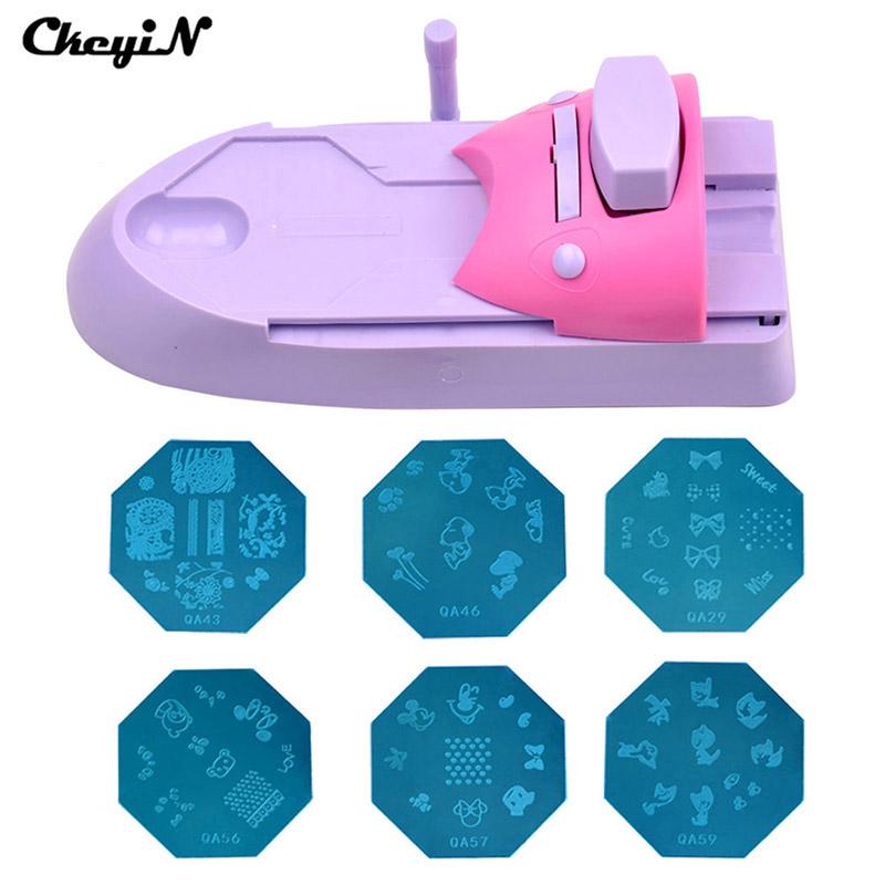 Beauty DIY Nail Art stamping printing machine Colors Drawing Nail Printer +6Nail Image Plate with retail box MR022 47 Z(China (Mainland))