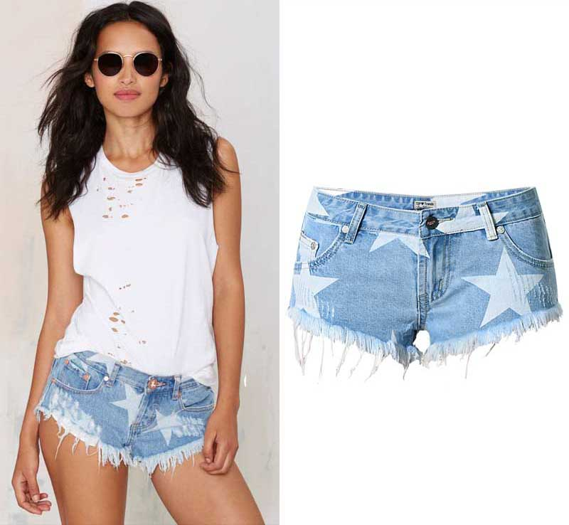 2016 star pattern ripped denim women shorts jeans short for femme feminino woman in jeans from. Black Bedroom Furniture Sets. Home Design Ideas