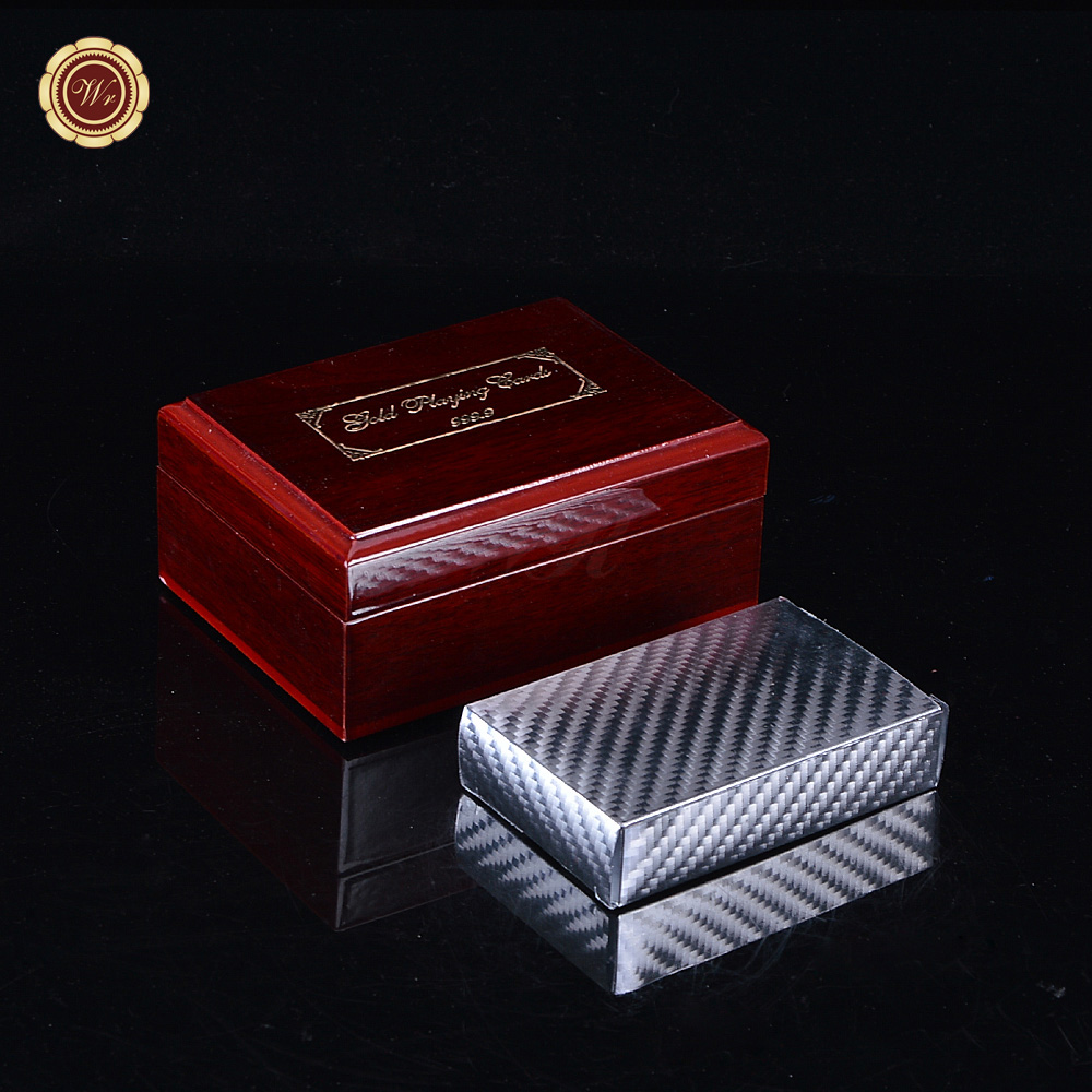 WR Glittering Silver Playing Cards Mosaics Texas Poker with Cute Pattern for Funny Games 87mm * 57mm with Nice Wooden Case(China (Mainland))