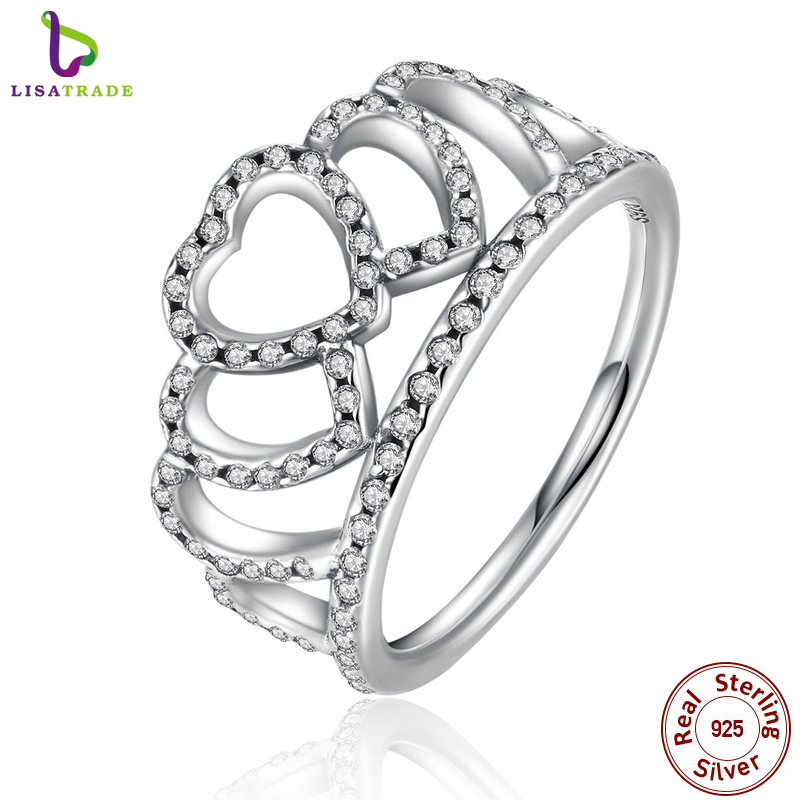 100% 925 Sterling Silver Hearts Tiara, Clear CZ Women Finger Ring Compatible with Original Jewelry PA7194(China (Mainland))