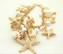 2014 new arrival high quality hot sale fashion chain bracelet jewelry for women,starfish shells conch and pearl pendant bracelet(China (Mainland))