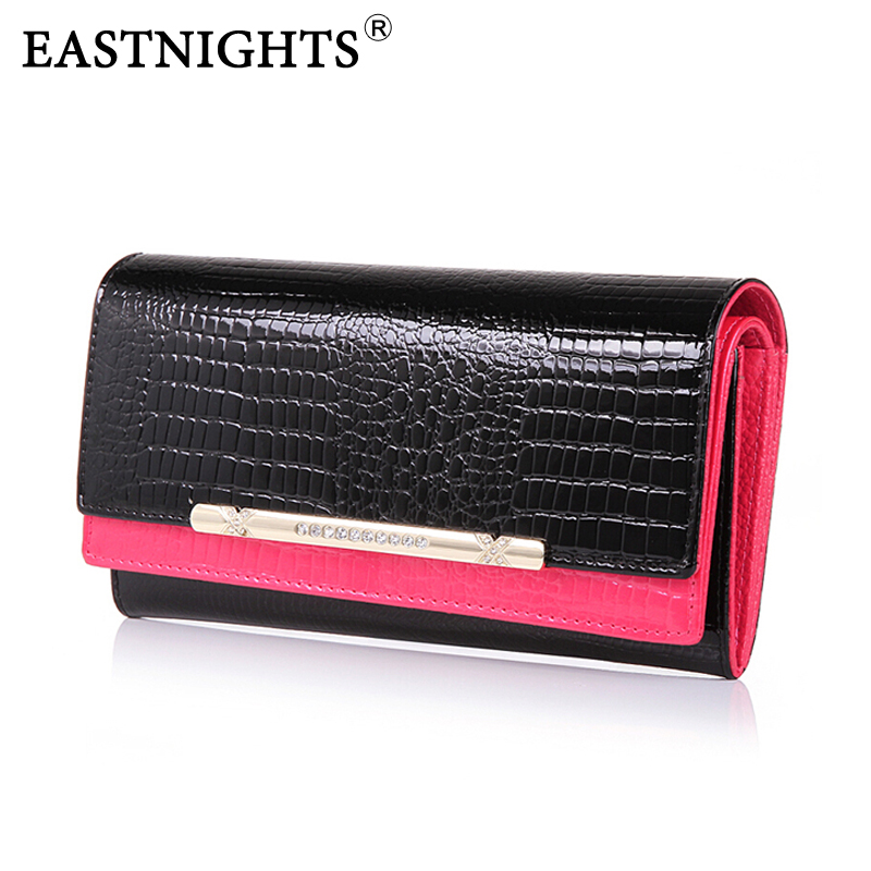 EASTNIGHTS wallets crocodile pattern 3D women wallets genuine leather European fashion double design long wallet brand quality(China (Mainland))