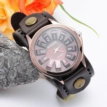 2016 Estilo Punk Do Vintage Genuíno Leatehr Strap Girassol Quartzo Mostrador do Relógio Dos Homens Relógio de Pulso Unisex Relógio Ocasional Relógio Relógio de Presente