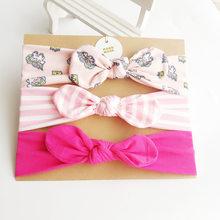 3 unids/set diadema para niñas accesorios para el cabello algodón turbante con Orejas de conejo lazo elástico diadema bebé princesa regalos del día de Navidad(China)