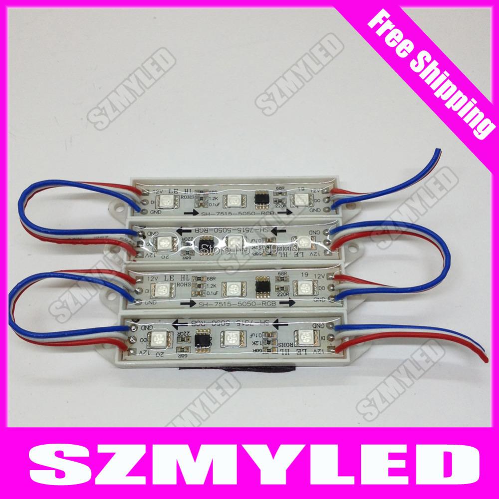 100pcs/lot UCS1903 IC led pixel module 3 led 5050 SMD IP65 waterproof DC12V RGB free ship led light addressable(China (Mainland))