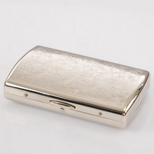 Free Shipping 2015 NEW Silvery White Copper Lines Cigarette Case Holder Box for 12 Cigarettes 0.06KG(China (Mainland))