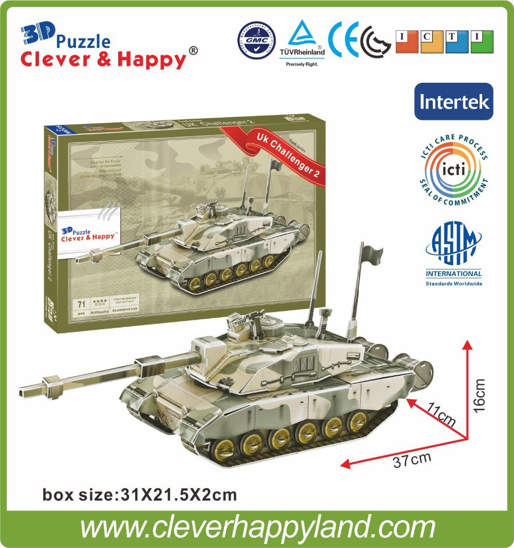 2014 new design wholesale 3d tank puzzle Model Paper UK Challenger 2(China (Mainland))