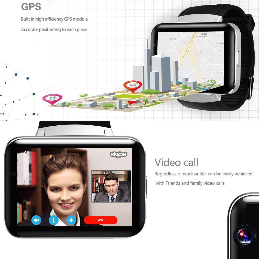 DM98 Bluetooth Smart Watch 2.2 inch 3G Smartwatch Phone MTK6572 Dual Core 1.2GHz Camera GPS WIFI Fitness Tracker Sleep Tracker