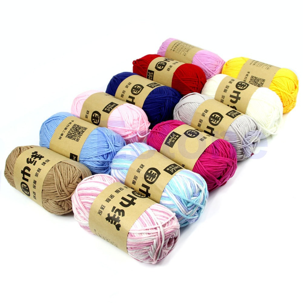 Free shipping 100g/Skein Milk Fiber Cotton Baby Knitting Yarn Knitting Crochet Soft Craft New(China (Mainland))