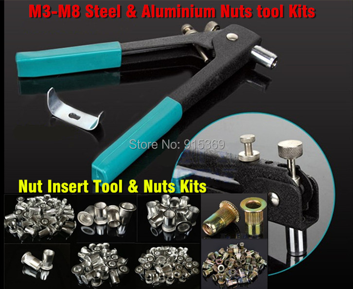 100pcs M3-M8 Alu & Steel Hand rivet Tool Kits Steel Alu 100 pcs Nuts M3-M8 Insert nut tool kit Hand riveting tool set(China (Mainland))