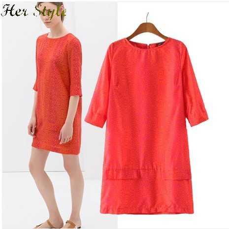 Free Shipping Orange Foundation 14 spring wind pockets decorative sleeve dress in loose child 20150345(China (Mainland))
