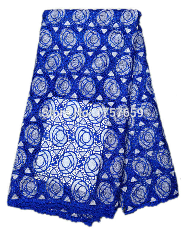 Free shipping!! Amazing big ROYAL BLUE flower african guipure Cord lace fabric with double color water soluble lace fabric(China (Mainland))