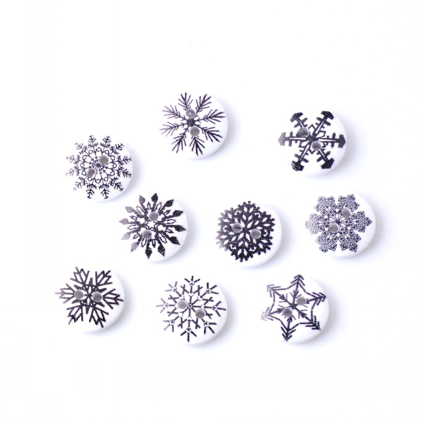 Free Shipping 50Pcs Random Mixed 2 Holes Print Snowflake Wood Buttons 15mm Dia. Sewing Tools For Diy Clothing Accessories F0587F(China (Mainland))