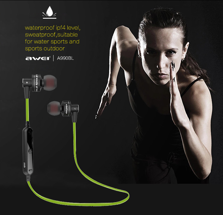 2015 new original Awei Earphone Free of Shipping High Quality Awei A990BL Noise Isolation 4.0 Bluetooth Sport Earphone Mic
