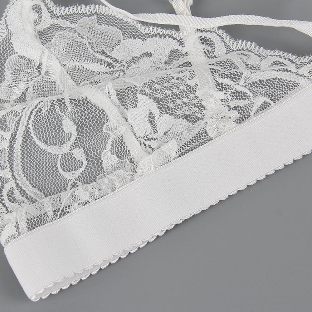 Women Sexy Lace Triangle Bralette Strappy Bra Wireless Unlined Cutout Brassiere Bralet Intimates Ultimate Crop Top Underwear