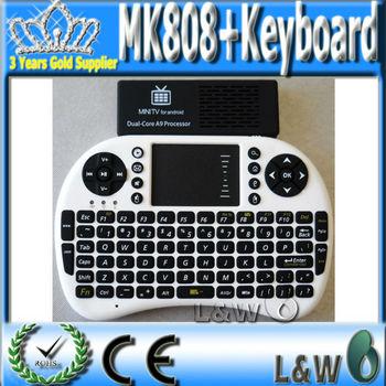 MK808 Android 4.2 Dual Core Mini PC Smart HDD Player 1GB RAM 8G ROM 2.4G Rii Mini i8 Wireless Keyboard Touch pad