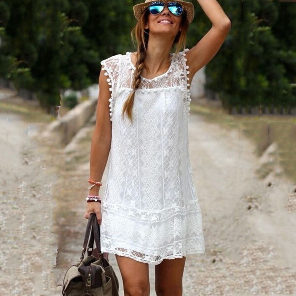 Summer style white Lace Dress 2015 hot fashion Women Casual Cocktail Party vestidos o-neck beach female vest dresses plus size(China (Mainland))