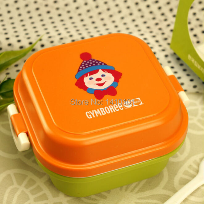 Fashion Cartoon Cute GYMBOREE Orange Plastic kid Microwave Oven Bento Lunch Box Lunchbox Meal Food Container Snack For Children(China (Mainland))