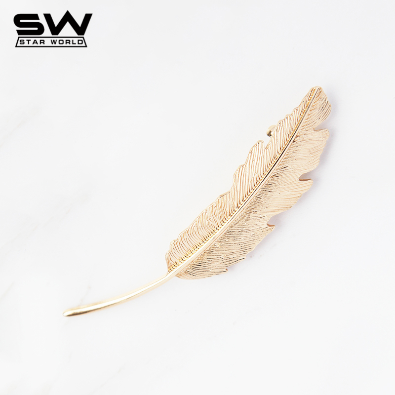 fashion vintage gold retro metal feather big Hairgrips Leaf Hair clip for women accessories Jewelry Pinza de pelo tiara F021(China (Mainland))