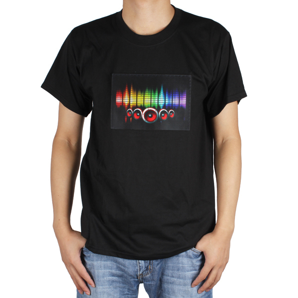 Cool Sound Activated LED Light Up Music T-Shirt Tshirt With Detachable EL Panel Fit For Party / Dance / DJ(China (Mainland))