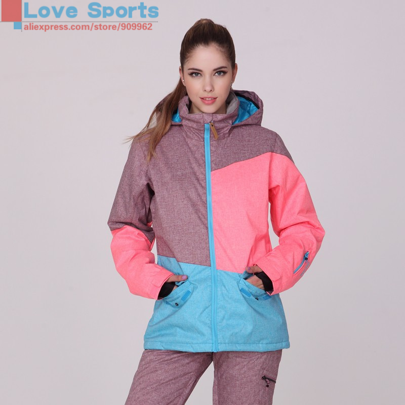 Newest High Quality Fashion Winter Skiwear Veneer Board Ski Jacket Female Snowboarding Clothing Skiing Jacket for Women(China (Mainland))