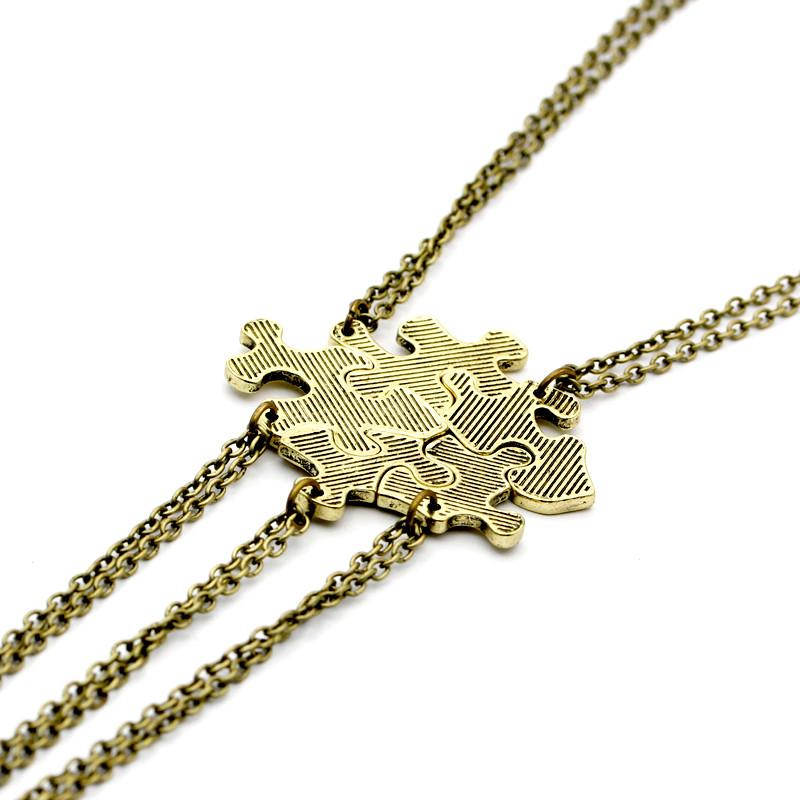 Interlocking Puzzle Necklaces for 5  Best Friends