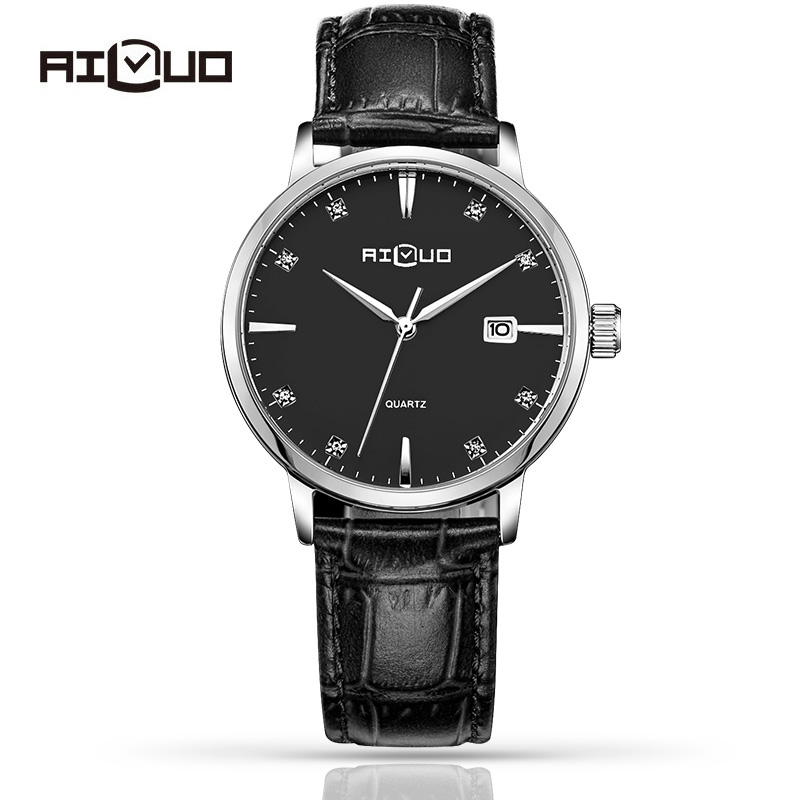 Фотография Ailuo Fashion Ultra Thin Classic Casual Business Watch Men Quartz Diamond Wristwatch Leather Strap Calendar Waterproof 50M