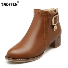 Buy New Fashion Woman Ankle Boots Women Round Toe Square Heel Shoes Female Buckle Martin Boot Zipper Footwear Shoes Size 34-43 for $23.68 in AliExpress store
