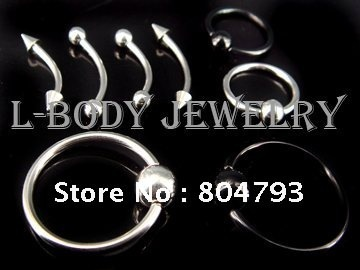 400pcs/lot Eyebrow Nipple Lip Captive Ring Ear Stainless steel mix size