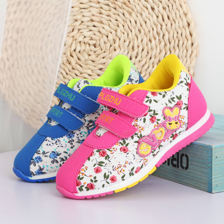 Ali Hot Sale Big Discount Girls Sneakers Floral Pink Blue Children Shoes Sports Running Shoes For Kids Fashion Girls Shoes(China (Mainland))