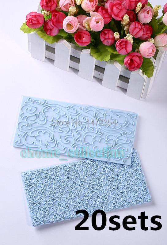 Free Shipping 20 set(40pcs) Mayan Sun & Floral Swirls Lace Impression Mat Cake Emboss Fondant Chocolate Sugar Mold(China (Mainland))